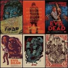 Comprar tres para enviar un cartel de película Evil dead vintage kraft posters Arte de pared salón bar decoración pintura
