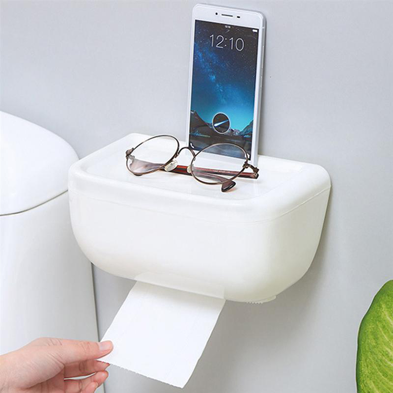 Hot Sale Toilet Paper Holder Bathroom Self Adhesive No Drilling Multifunction Sundries Storage Rack Tissue Box|Storage Shelves & Racks| |  - title=