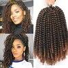 Bahar büküm saç 8 inç Afro Ombre bahar tığ saç tutkusu büküm sentetik tığ örgü saç ekleme 110 Gram 30 kökleri/paketi