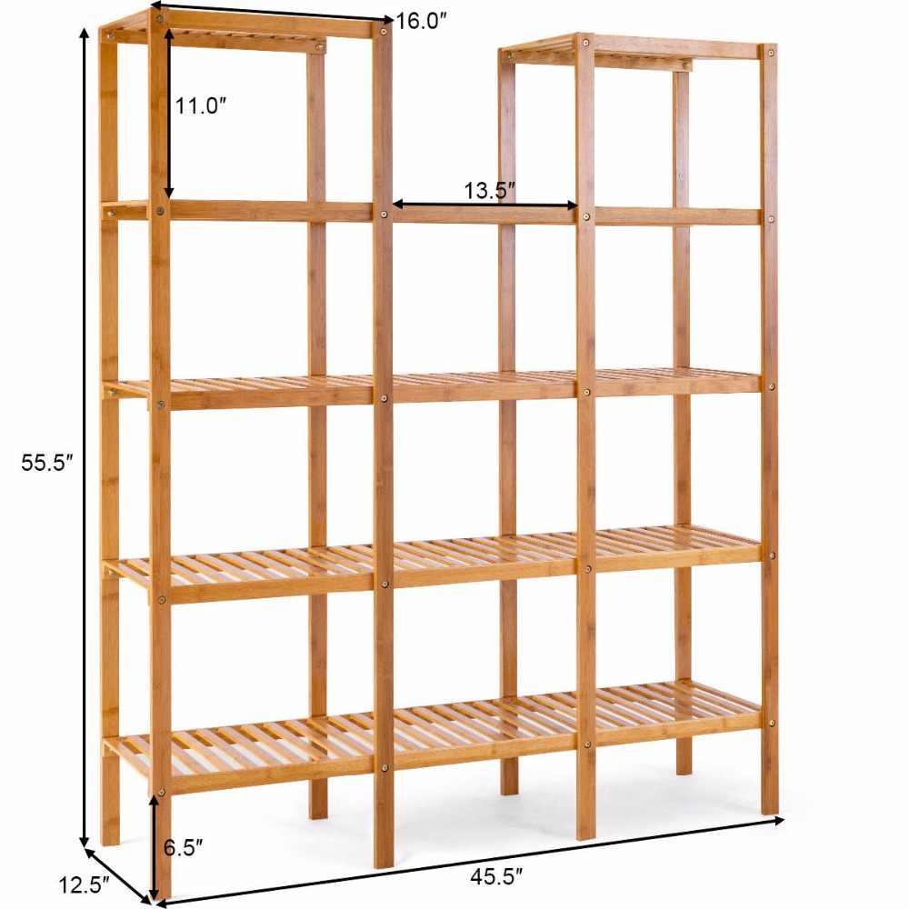 متعددة الوظائف الخيزران رف خزانة زهرة مصنع حامل عرض التخزين رف وحدة خزانة المنزل الأثاث HW57411