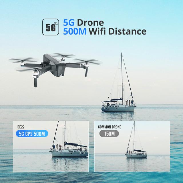 DEERC DE22 Drone GPS Brushless 5G 500M WIFI FPV 2.7K  Full HD GPS RC Drone Foldable 1.2km 1200M 25Mins Profesional Quadcopter