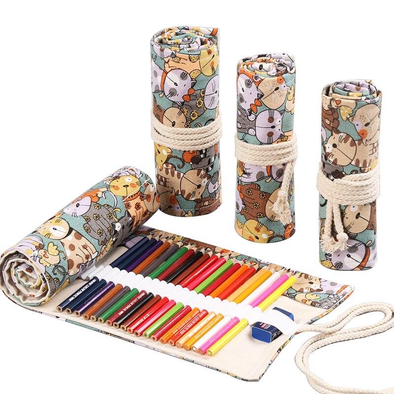 Pen curtain roll pen bag canvas large capacity cute 36/48/72 hole color lead sketch pen art painting storage pen bag