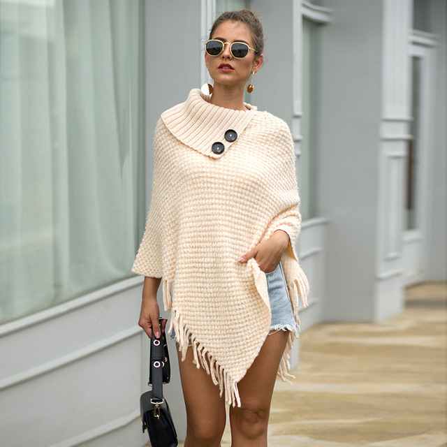 Korean Style Women Winter Furry Soft Loose Casual Tassel Cape Overcoat Knitted Sweater 2