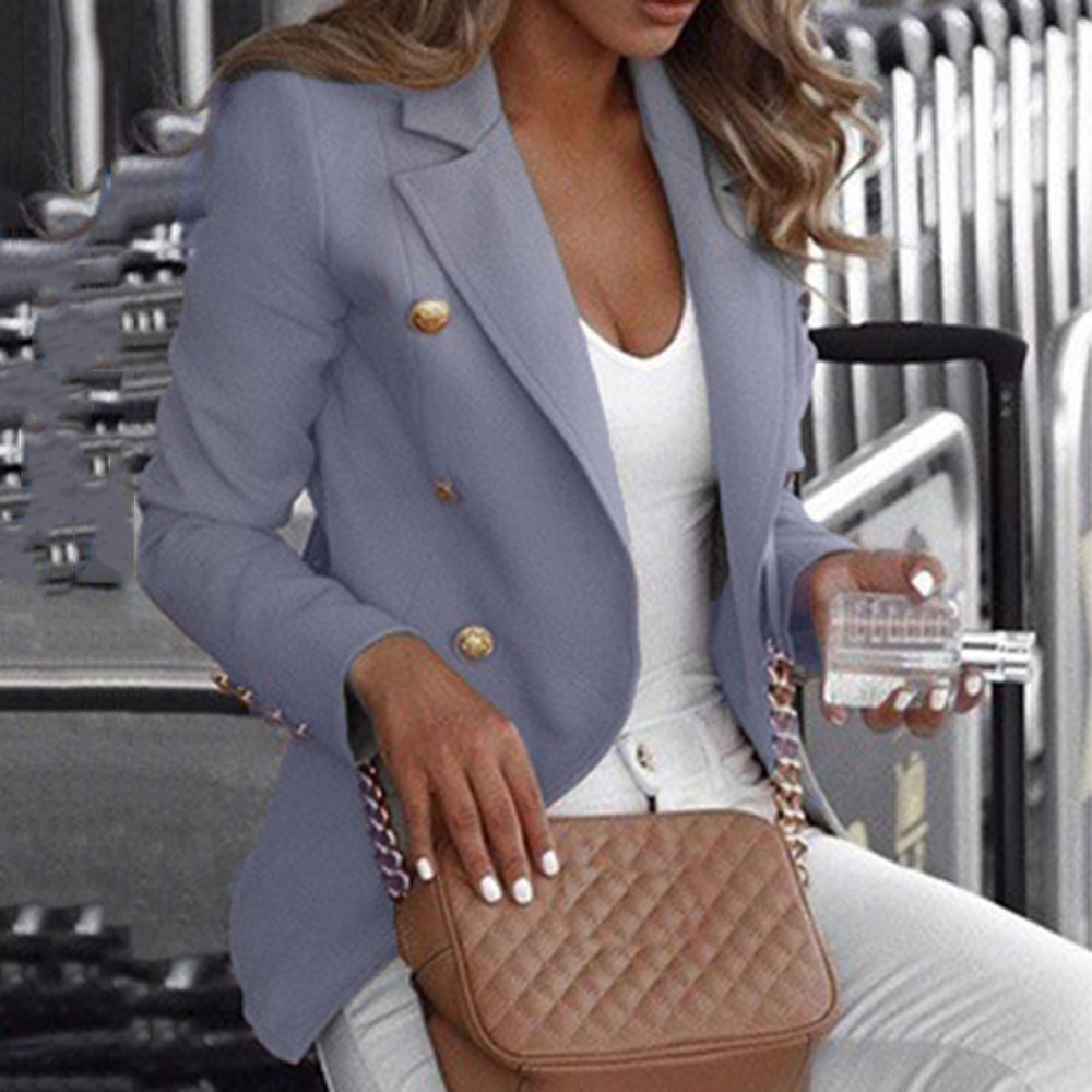 Fashion Double-breasted Blazer Suit Women Autumn 2020 Casual Long Sleeve Elegant Slim Solid Color Office Lady Workwear