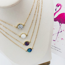Hot sale round crystal lady necklace Bohemian style fashion refined atmosphere personalized multi-color options