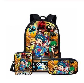 Gorąca sprzedaż Beyblade Burst gry 3 sztuk zestaw wydrukowano człowiek duży plecak torby szkolne ortopedyczne Beyblade Burst gry torba szkolna prezenty