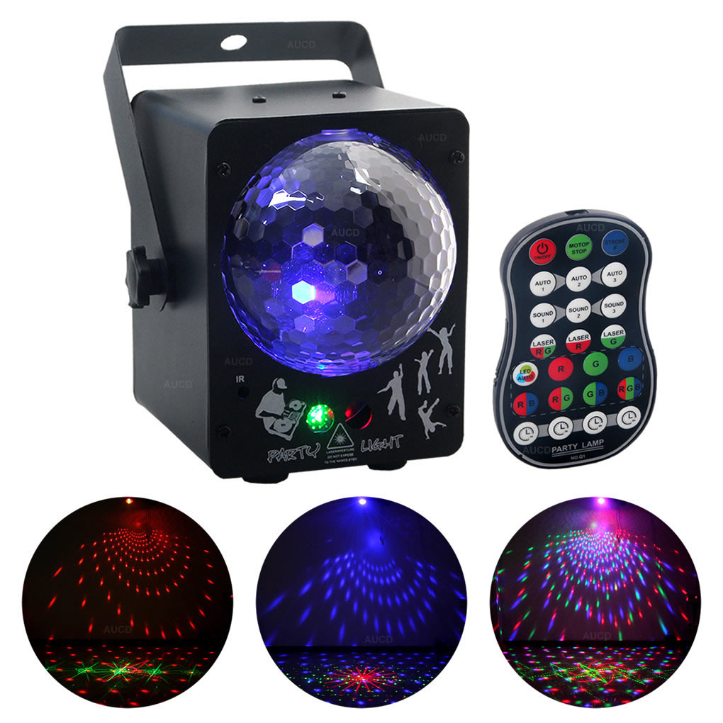 AUCD Mini Portable Remote Control RGB LED Disco Crystal Ball Mix DJ Party Show 30 Patterns RG Laser Projector Stage Lights WQ33