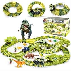 QWZ New Dinosaur Railway Car Track Racing Toy Set Educational Bend Flexible Race DIY Flexible Track Toys For Children Boys Gift