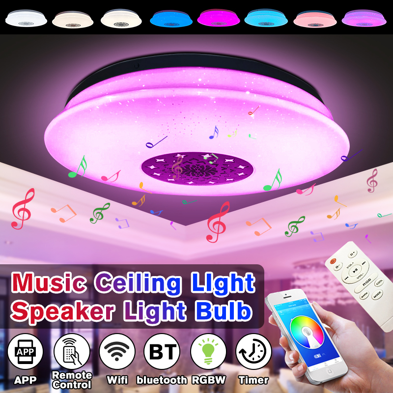 60W LED Full Color Ceiling Light with bluetooth Music Speaker RGB Dimmable Modern Music Ceiling Lamp APP Remote Control Ceiling Lights     - title=
