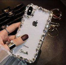 case for iPhone 11 XR 7 8 11 Pro Max X XS Max Plus 6 6s cover Luxury Rhinestone Mobile Phone Transparent All-Inclusive oneplant transparent electroplated phone case for iphone 11 pro max xr xs x xs max all inclusive phone cover for iphone 7 8 plus