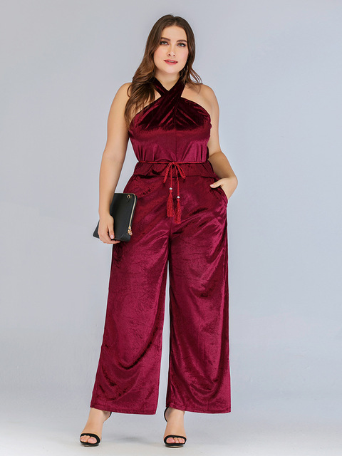 2020 spring summer plus size jumpsuit for women large sleeveless off shoulder slim casual long jumpsuits belt red 4XL 5XL 6XL 3