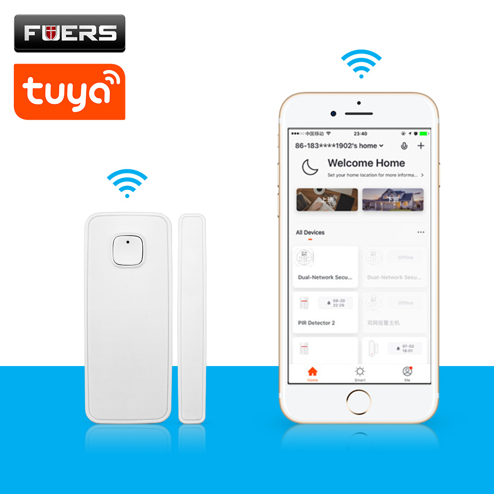 Wireless WiFi Door Window Sensor Detector Home Security Door Alarm System Amazon Alexa Compatible Smart Life Tuya App Control