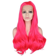 QQXCAIW Synthetic Lace Front Wig Women Rose Pink Glueless Long Natural Wavy Free Part High Temperature Fiber  Wigs
