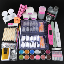 Conjunto completo de manicure do prego pro kit acrílico com máquina de broca acrílico líquido cola do prego glitter em pó dicas prego arte do prego ferramenta kit