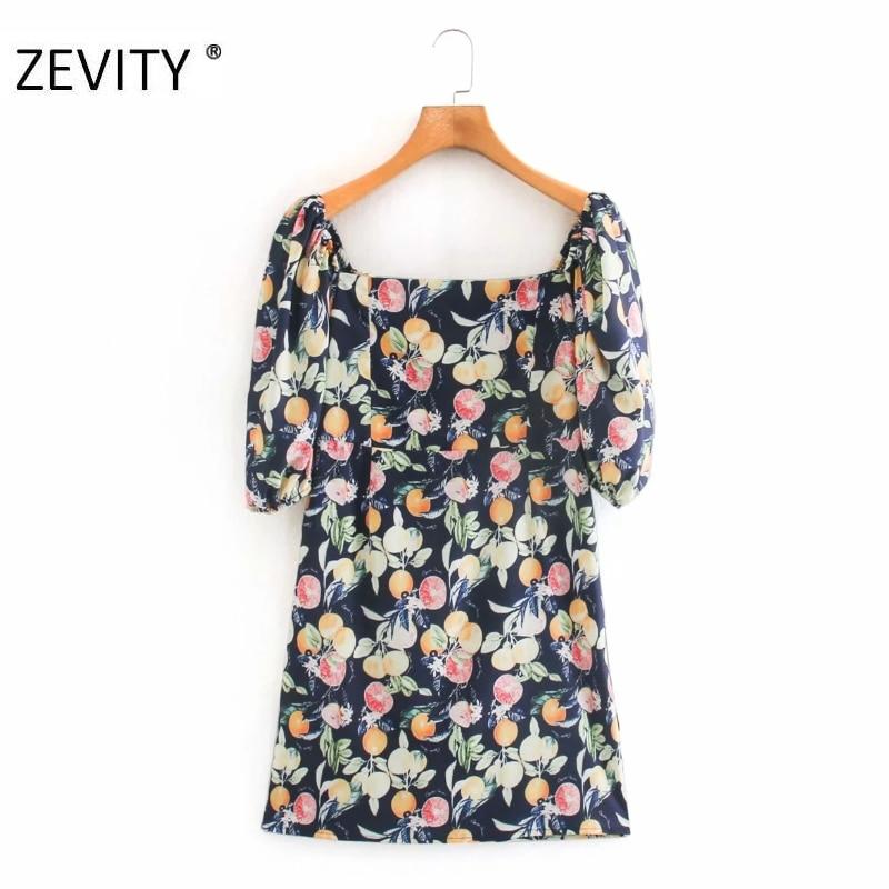 ZEVITY New women vintage square collar print slim dress chic female puff sleeve back elastic zipper vestido party dresses DS4325