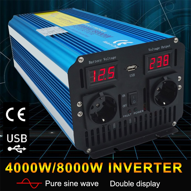 8000W pure sine wave DC 12V 24V TO AC 220V 230V 240V solar power inverter with 3 1A USB dual LED display EU socket