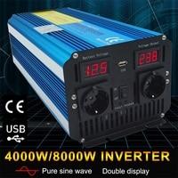 8000W pure sine wave DC 12V/24V TO AC 220V/230V/240V solar power inverter with 3.1A USB dual LED display EU socket