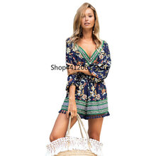 Swim Suit Cover Up For Women Summer Tunic Beach Mat Dresses Swimsuits 2019 New Long Sleeve Neck Print Shorts Acetate Sierra(China)