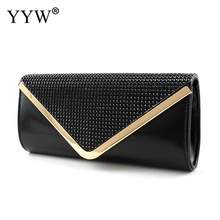 Female Rhinestone Day Bags Over Shoulder Black Envelope Bag Women Fashion Evening Clutch Purse And Handbags Bolsos Para Mujer(China)