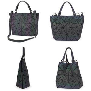 Image 2 - Flower poetry Bao Bag Women Luminous Bucket Bag Geometry Diamond Shoulder Bags Casual Folding Handbags Ladies Messenger Bags