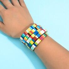 Juego de 5 pulseras apilables de arcoíris dorado esmaltadas, hechas a mano, pulseras bohemias, brazaletes de azulejo, envío directo