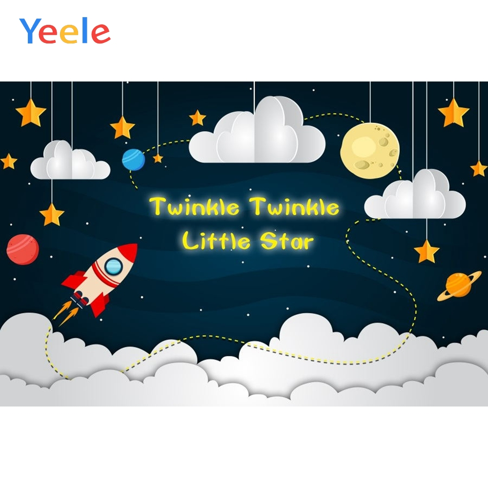 Yeele Boy Birthday Backdrop Cartoon Cloud Spacecraft Planet Photocall Customized Photography Background Vinyl For Photo Studio in Background from Consumer Electronics
