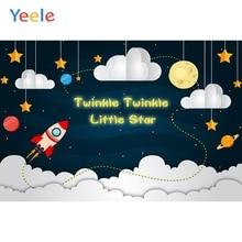 Yeele Boy Birthday Backdrop Cartoon Cloud Spacecraft Planet Photocall Customized Photography Background Vinyl For Photo Studio