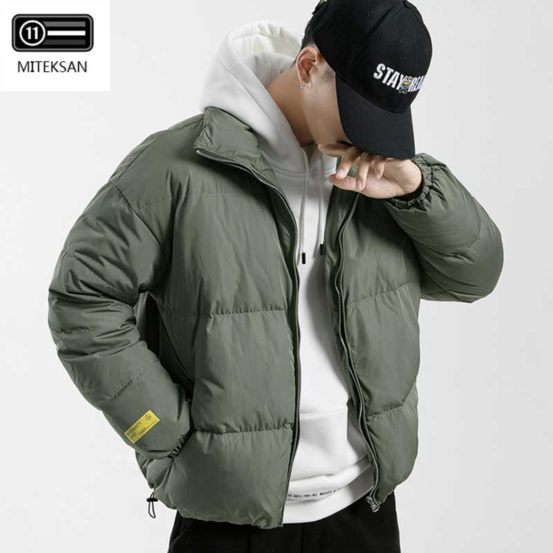 MITEKSAN Winter Canada Down Jacket Men Stand Collar Bread Coats Fashion Casual Goose Outerwear Male Clothes 2019 Doudoune Homme