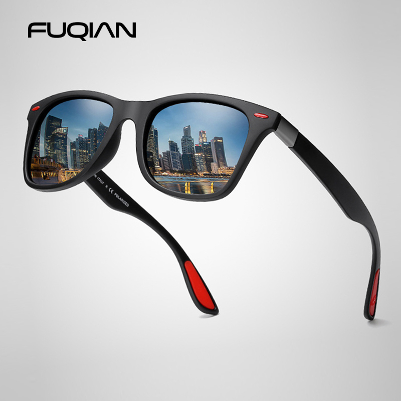 FUQIAN Hot Sale Polarized Sunglasses Men Women Classic Square Plastic Driving Sun Glasses Male Fashion Black Shades UV400
