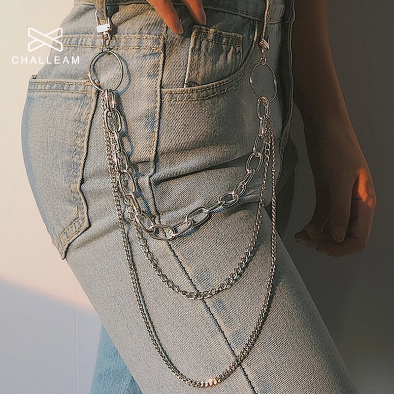 Women Punk Pant Chain belt Female Hip Hop tassel Trousers Silver gold Chain For Pants Woman Cool Metal Chains On Jeans 290