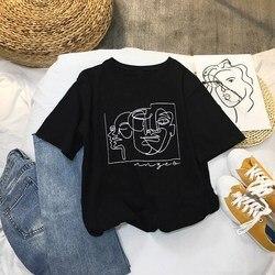 Женская футболка с рисунком лица, с круглым вырезом, модная, с абстрактным принтом персонажей, с круглым вырезом, с коротким рукавом, футболк...