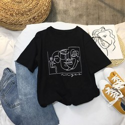 Female Face Drawing Graphic T-Shirt O-Neck Fashion Abstract Character Painting Printed Round Neck Short Sleeve Tee