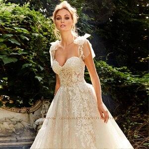 Image 3 - Shiny Lace A Line Wedding Dress Vestidos De Bodas Sweetheart Neck Backless Illusion Bridal Gown Gelinlik