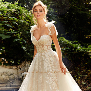 Image 3 - מבריק תחרה אונליין שמלת כלה Vestidos דה Bodas מתוקה צוואר ללא משענת אשליה כלה שמלת Gelinlik