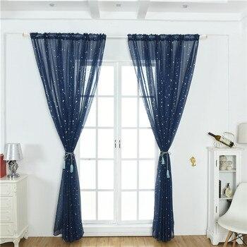 Con una barra pequeña caliente plata estrella tul cortinas de moda sala de estar dormitorio cortinas de tul transparente