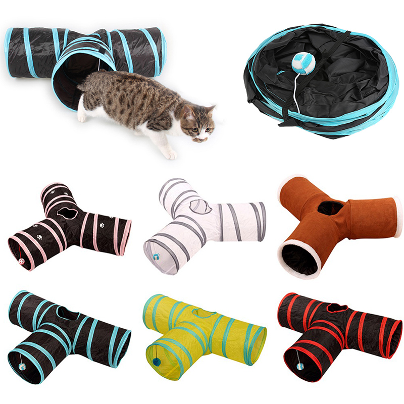 Foldable Pet Cat Tunnel Holes Indoor Outdoor Pet Cat Training Toy for Cat Rabbit Animal Funny Pet Cat Tunnel Tubes jouet chat image