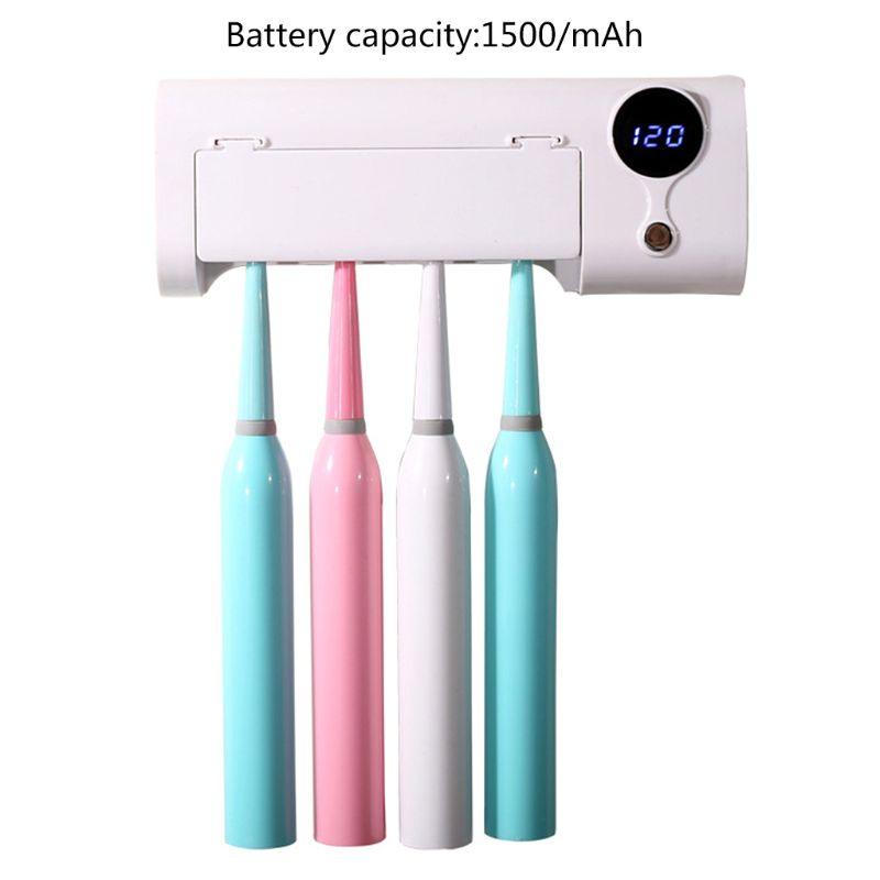 2 In 1 UV Light Ultraviolet Toothbrush Automatic Toothpaste Dispenser Sterilizer X7YB