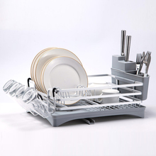 Silvery Stainless Aluminium Kitchen Drying Dish Rack Sink Drain Knife Holder Cutlery Drainer Storage Plate Glass Organizer Shelf