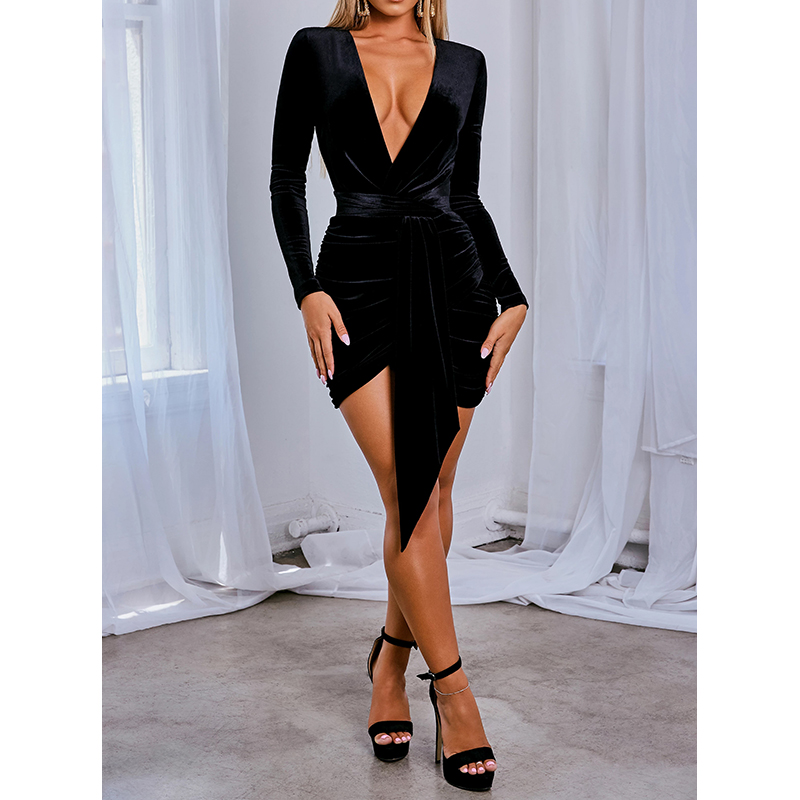 Women Sexy Bodycon Velvet Dress Mini 2019 Autumn Winter Warm Club Party Elegant Dresses Long Sleeve Fashion Femme Black Vastido
