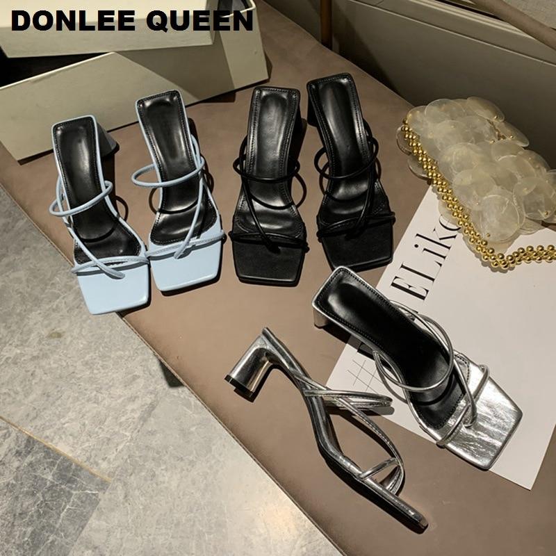 Fashion High Heels Sandal Slippers Women Slip On Open Toe Sandals Casual Outdoor Slippers Narrow Band Slides Shoes Women Slipper