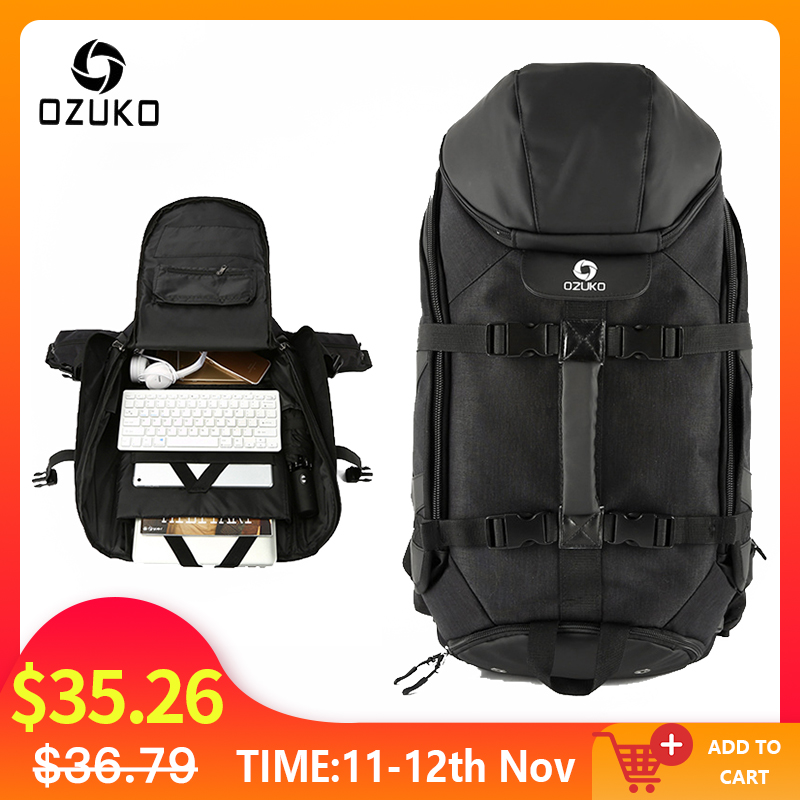 OZUKO New Men Travel Backpack Large Capacity 17 Inch Laptop Bag Male Multifunction Mountaineering Backpacks Outdoor Sport Bag