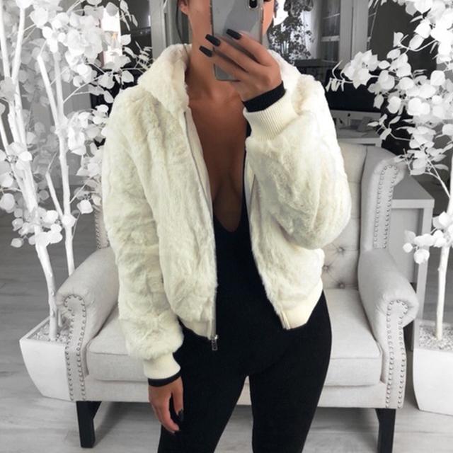 Sfit  New Faux Fur Women Coat With Hood High Waist Fashion Slim Black Red Pink Faux Fur Jacket Fake Rabbit Fur Coats 2020