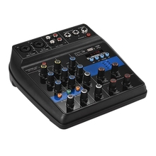 Small Mixer 4 Channel Bluetooth MP3 Reverb Effect USB Mini Mixing Console o Mixer Amplifier (US Plug)