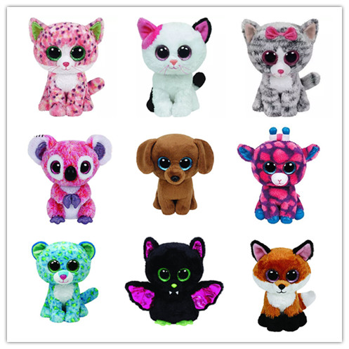 Bright Big Eyes Halloween Christmas Snowman Koala Cat Dog Fox Leopard Bat Plush Doll Stuffed Animals Kids Toys 15CM