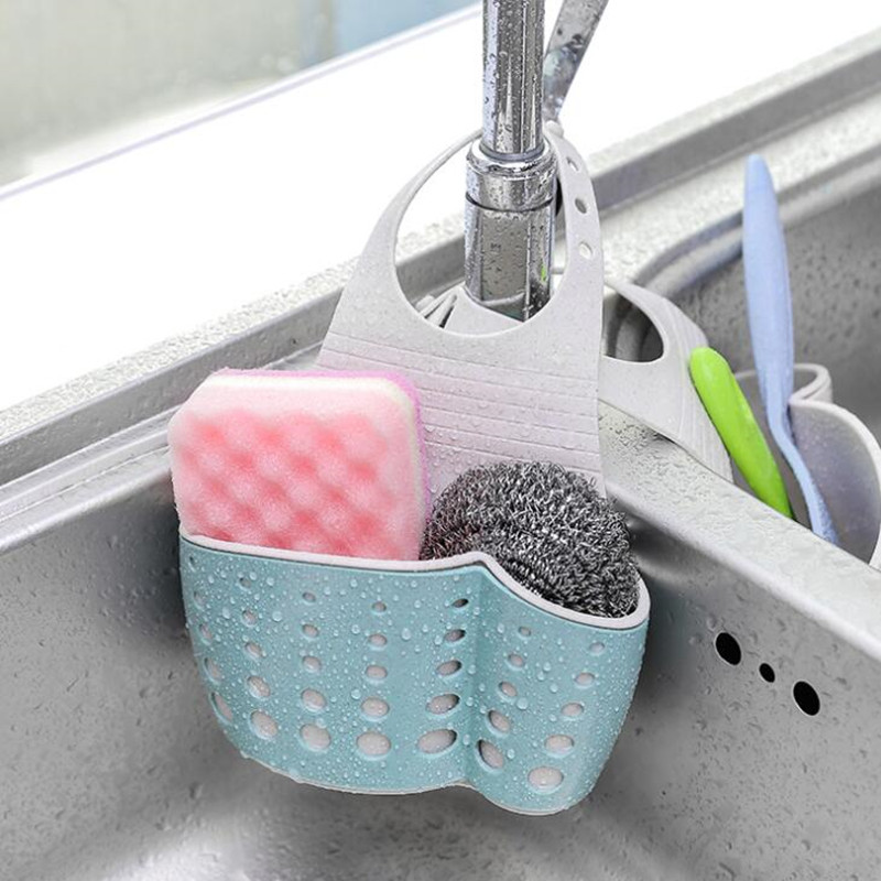 Kitchen Sink Sponge Holder Draining Rack Sink Kitchen Hanging Drain Storage Rack Tools Storage Shelf Sink Holder Drain Basket