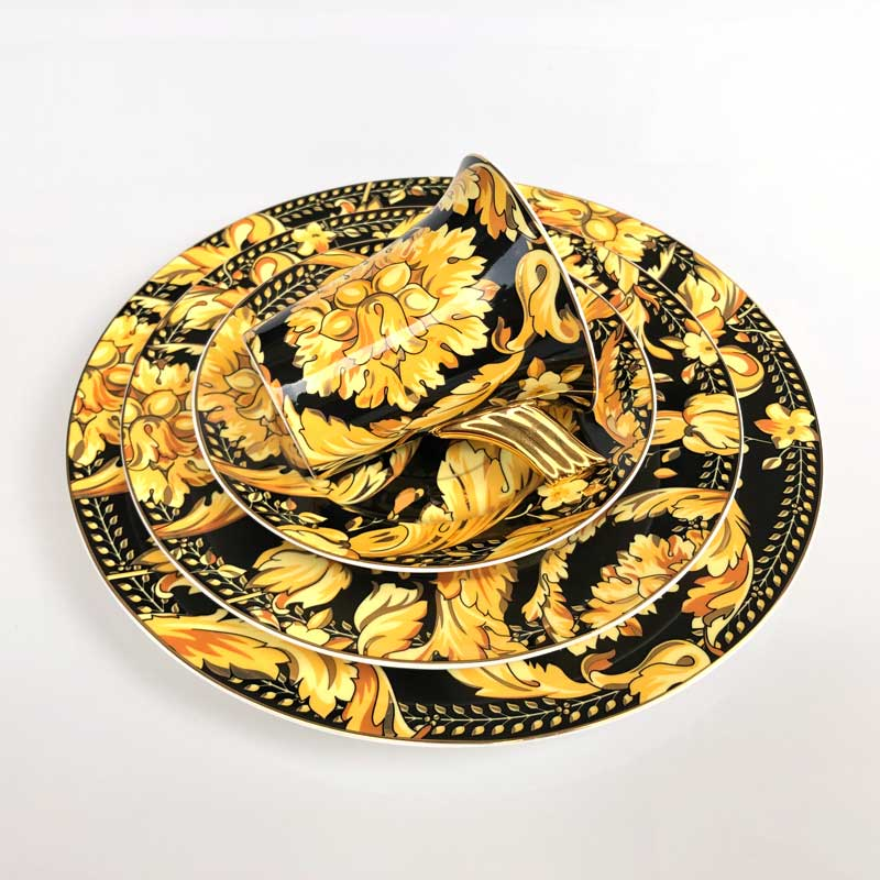 Europe Yellow Flower Bone China Tea Cup Saucer Plate Kitchen Restaurant Table Utensils Unique Housewarming Birthday