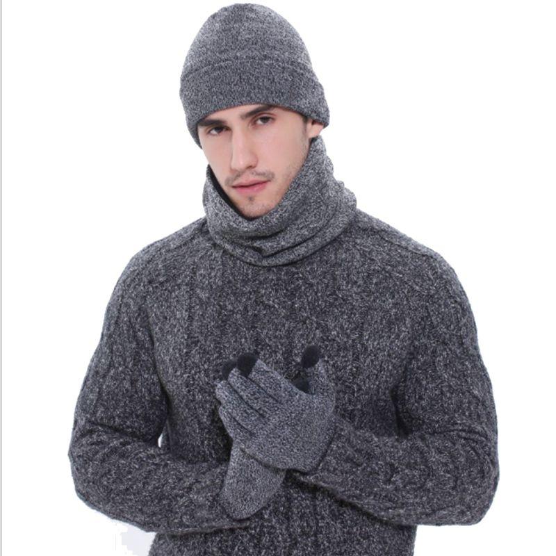 Fashion Men Women Winter Warm Thicken Hat Scarf Gloves Set
