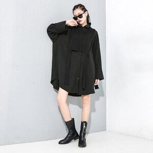 Image 3 - [Eam] feminino preto divisão conjunta tamanho grande duas peças blusa nova lapela manga longa solto ajuste camisa moda primavera outono 2020 1m889