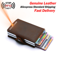 Genuine Leather Men Credit Card Holder Double Layers RFID Blocking Men Wallet ID Card Holder Bank Fashion Wallets Purse Cards