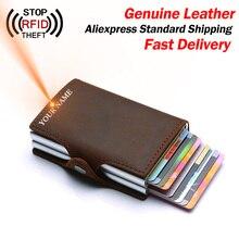 Portefeuille en cuir véritable pour hommes, cartes de crédit, Double couche, blocage RFID, porte carte didentité, porte cartes, porte monnaie à la mode